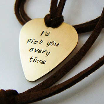 Id pick you Personalized  Guitar Pick Necklace, I'd pick you, Hand Stamped Necklace, Boyfriend, Friend,  Husband, Dad, Son Gift