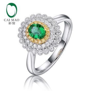 Caimao Vintage Cluster Diamonds Ring Natural Oval Emerald 14kt Multi-tone Gold Milgrain Engagement Jewelry for Women