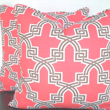 Coral pink throw pillow cover 18x18, trellis pillow cover coral brown and white, medallion cushion cover, beach cottage pillow with piping