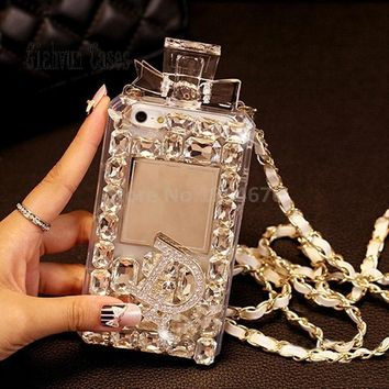 Bling Crystal Diamond Lanyard Chain TPU back cover For iPhone 8 6 6S 4 5 5S 5G SE 7 8 X S plus 6plus 7P 8Plus phone Case