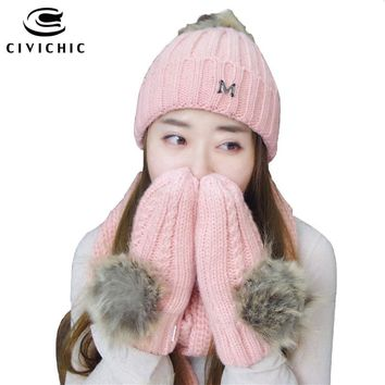CIVICHIC Handmade Winter Warm Set Woman Knit Scarf Crochet Hat Gloves Pompon Mittens Beanies Thicken Headwear Solid Shawl SH174