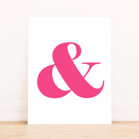 Ampersand Pink PRINTABLE ART Dorm Decor Apartment Art Bathroom Art