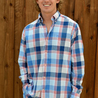 Southern Tide Waterfront Plaid Sport Shirt- Fire