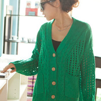 Green Hollow-out V Collar Cardigan Sweater $40.00