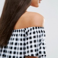 ASOS Off Shoulder Gingham Sundress at asos.com