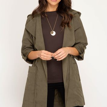 Long Roll Up Sleeve Hooded Parka -Olive