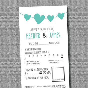 PERSONALIZED PDF / Leave a Note for the Bride and Groom: Mad Lib