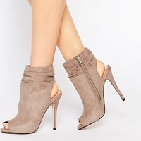 Call It Spring Talewen Taupe Peep Toe Heeled Shoe Boots