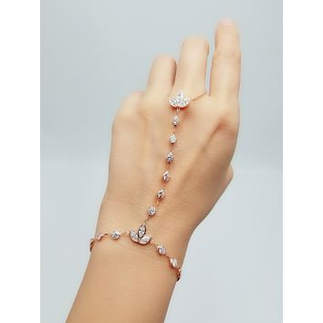 White Zircon Waterway with Tulips Slave Bracelet Adjustable Hand Chain 925 Sterling Silver