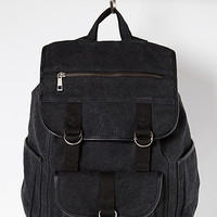 Buckled Flap-Front Canvas Backpack