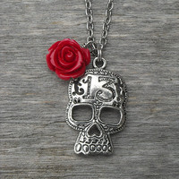 Lucky 13 Silver Skull Necklace with Red Rose Charm, Day of the Dead, Gothic, Goth, Punk, Rock and Roll, Rocker, Heavy Metal,