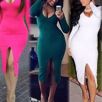 Fashion New Winter Long Sleeve V-neck Bodycon Ladies Evening Pencil Dress Bandage = 1905894148