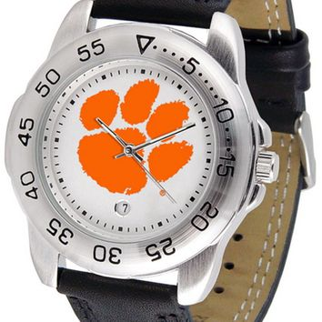 Clemson Tigers Mens Sport Watch Leather Band White Dial