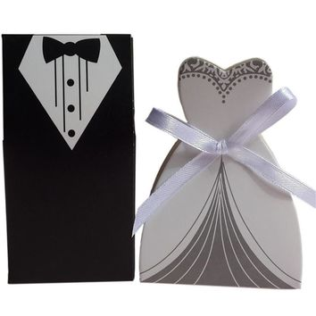 50 Pcs Tuxedo Dress Groom Bridal Wedding Party Favor Gift Candy Boxes