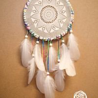 Dream Catcher - Colourful Whiteness - With White Handmade Crochet Web and White Feathers - Mobile, Home Decor, Decoration