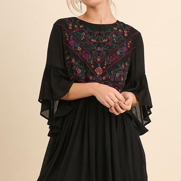 Floral Embroidered Bell Sleeve Keyhole Dress - Black