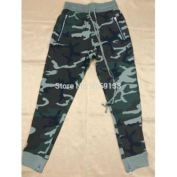 New urban clothing fashion singer mens jumpsuit harem camo side zipper pants joggers military army sweatpants camouflage