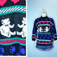 Vintage 1980s Sweater / Teddy Bear Hearts Novelty by SnapVintage