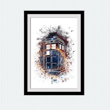 Doctor Who print Tardis watercolor poster Doctor Who poster Tardis print Home decoration Kids room art decor Christmas gift Wall decor  W296