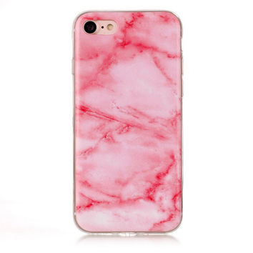 Pink Marble Stone Case Cover for iPhone 7 7Plus & iPhone 6s 6 Plus +Gift Box