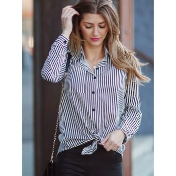 Black And White Contrast Vertical Striped Shirt