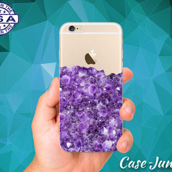 Purple Amethyst Gemstone Gem Cute Tumblr Clear Case iPhone 5 iPhone 5C iPhone 6 iPhone 6+ iPhone 6s iPhone 6s Plus iPhone SE iPhone 7 Plus