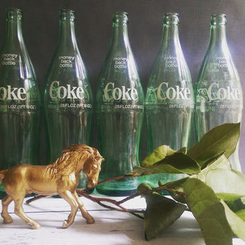 Antique Green Glass Coke Bottles/ 26 oz coke bottles/ coca cola bottles/ coca cola memorabilia