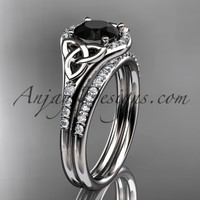 14kt white gold diamond celtic trinity knot wedding ring, engagement set with a Black Diamond center stone CT7126S