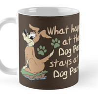 'What Happens at the Dog Park Saying ' Mug by ironydesigns