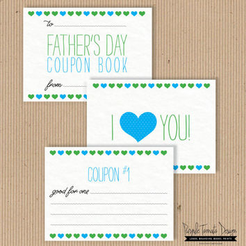 Printable Fathers Day Coupon Book. DIY Dads Gift. Instant Download. Dads Coupon Book. Dad gift.
