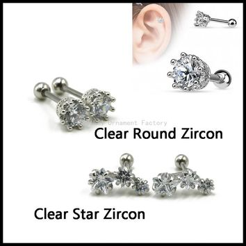 New 316l Surgical Steel Round,Star Zircon with Crown Claw Ear Tragus Helix Cartilage Stud Earring Body Piercing Fashion Jewelry