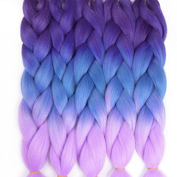 CREY78W TOMO Hair 24' Ombre Kanekalon Jumbo Braiding Hair Synthetic Crochet Braid Hair Extensions 100g Bulk Hair
