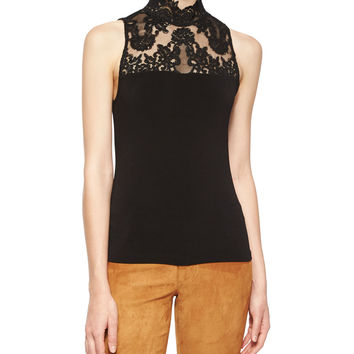 Madyson Lace-Neck Sleeveless Top, Size: