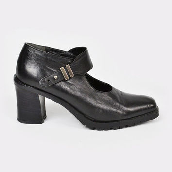 vintage 90s black leather MARY-JANE / black mary-jane / 90s chunky mary-jane / 90s chunky heel mary-jane / black maryjane / 90s grunge / 8