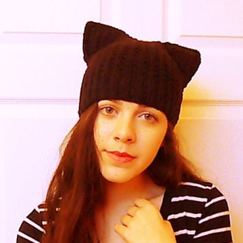 Black cat hat, kitty ear beanie, ear hat, cat beanie, cat cap, women's knit hat, new style hats, square cap