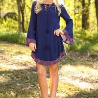 Go With All Your Heart Dress-Navy
