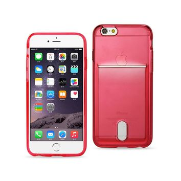 New Semi Clear Case With Card Holder In Clear Red For iPhone 6 Plus By Reiko