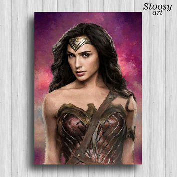 wonder woman poster superhero painting dc comics art dawn of justice