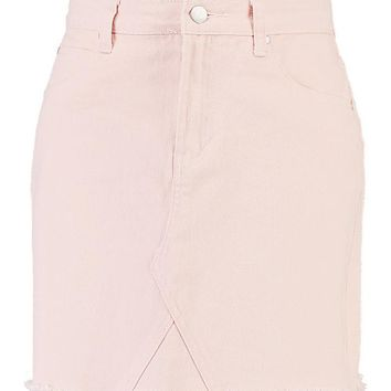 Nude Frayed Hem Denim Skirt | Boohoo