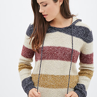 FOREVER 21 Textured Knit Striped Hoodie Cream/Multi