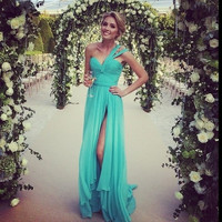 Dresscode Casual Mint long bridesmaid dress elegant wedding party dress One shoulder casual Evening dress  PD900150