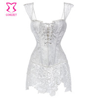 Floral Lace&Brocade White Corset Dress Plus Size Steampunk Corsets Bustiers Sexy Gothic Clothing Korse Wedding Korsett For Women