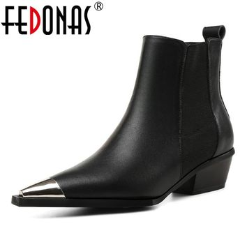 FEDONAS New 2019 Women Ankle Boots Sexy Metal Toe Autumn Winter Martin Shoes Woman Night Club Dancing Pumps Brand Basic Boots