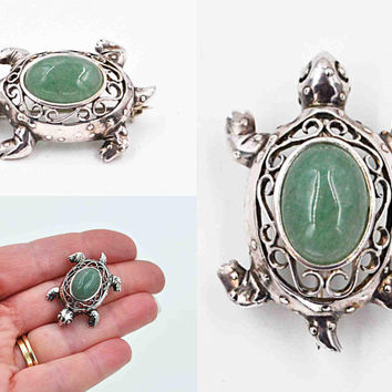 Vintage Jezlaine Sterling Silver Turtle Brooch Pin, Green Aventurine, Scroll, Cutout, Openwork, 3D,  Figural, Reptile, Cute! #c453