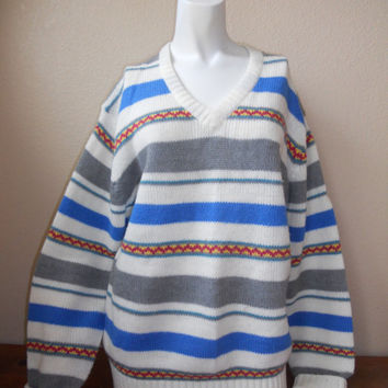 Vintage V neck mens womens Knit pullover Sweater   Over sized