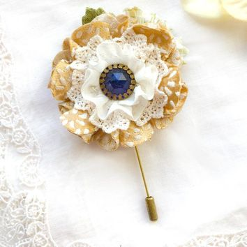 Floral Stick Pin - Golden Yellow Blossom