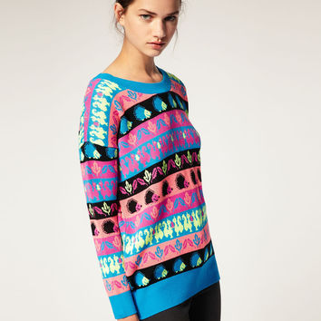 "Multicolor Asos Jumper With Neon ""Critter"" Design"