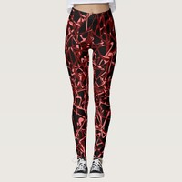 Red Pink Abstraction On Black Leggings
