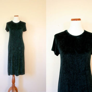 Vintage Dress / 90s CYNTHIA ROWLEY Velour / Medium