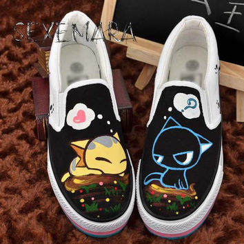 Women Personalized hand painted Canvas shoes wrapping foot pedal platform canvas  Flat shoes Plus size 42 43 44
